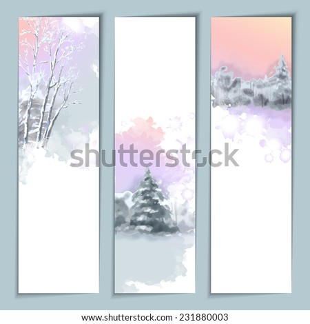 Vector Watercolor Winter Landscape Banners with snow-covered forest, fir tree - stock vector