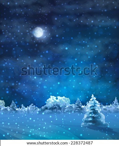 Vector Watercolor Winter Night Landscape with snow-covered forest, fir tree, text - stock vector