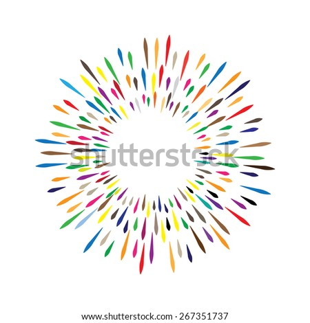 vector watercolor wreath with colorful rainbow drops of paint splash - stock vector