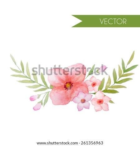 Vector watercolor wreath with pink flowers and leaves. Template for wedding invitation and save the date cards.  - stock vector