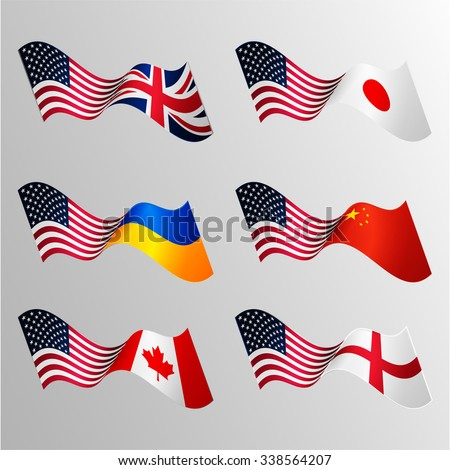 Vector waving flags. Union. Confrontation. State. USA and Japan. USA and United Kingdom. USA and Ukraine. USA and China. USA and Canada. USA and Britain. - stock vector