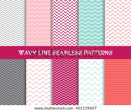 Vector wavy line seamless patterns romantic vintage collection - stock vector