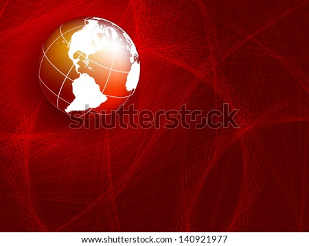 vector wavy lines with copy space and globe. eps10 - stock vector