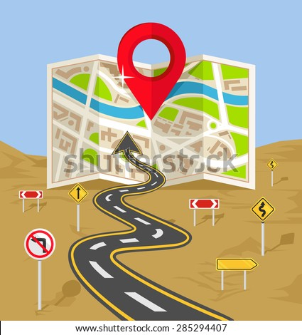 Vector wavy road with map flat illustration - stock vector