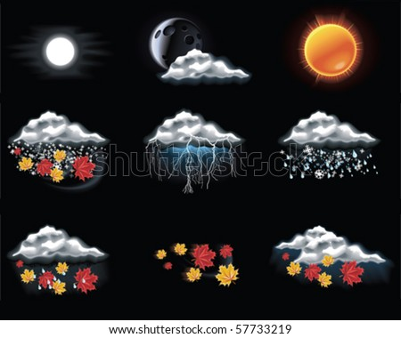 Vector weather forecast icons. Part 3 - stock vector