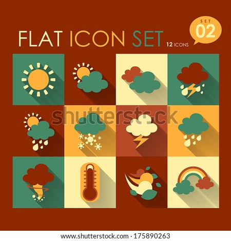 vector weather icon set flat style design - stock vector