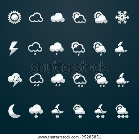 Vector weather icon set (p.3),  50x50 px silver on dark background - stock vector
