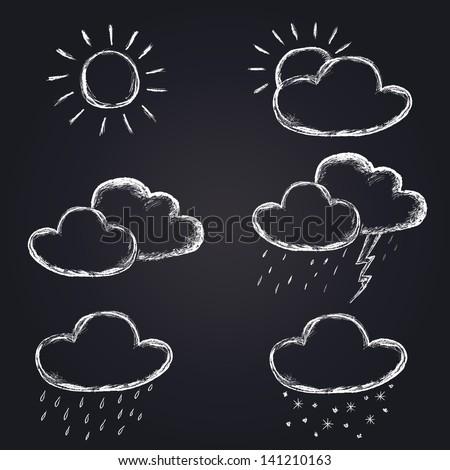 vector weather icons set on chalkboard - stock vector