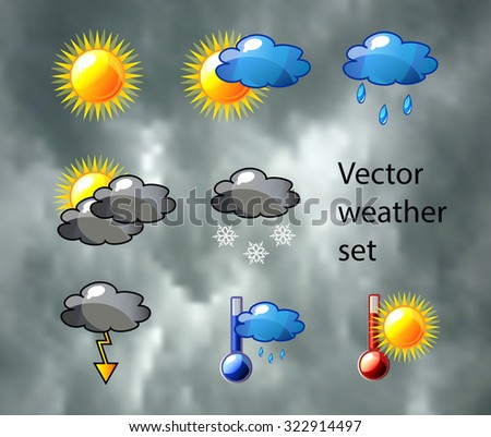 Vector weather set with nice detailed icons of sun, cloud, rain, snow, thermometer and fog. - stock vector