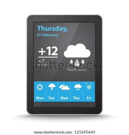 Vector weather widget on tablet pc screen - stock vector