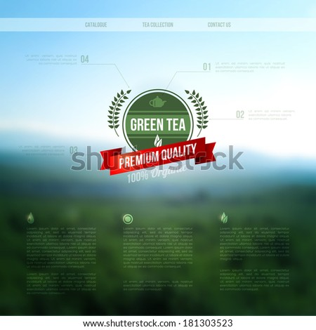 Vector web and mobile interface background. Corporate website design. Minimalistic media backdrop. Vector. Editable. Unfocused. Wreath. Mountain background. Badge. Blurred forest, field wallpaper. - stock vector