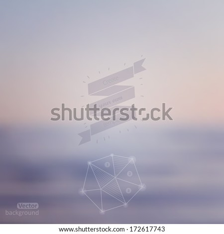 Vector web and mobile interface template. Corporate website design. Minimalistic web multifunctional media backdrop. Ribbon badge label over sea background. Vector. Editable. Blurred. Unfocused. Ocean - stock vector