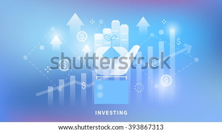 Vector web banner on the theme: investing, money, Deposit. How to make money. Sprout in hand. Linear and flat design. Neon background. - stock vector