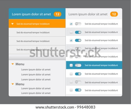 Vector web design navigation menu in blue and orange color with switches - stock vector