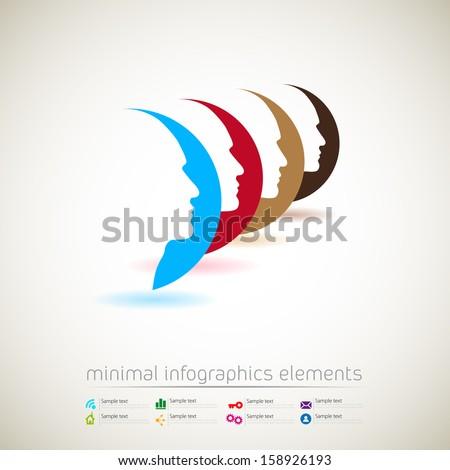 Vector web design template - human heads in communication - infographics idea - stock vector