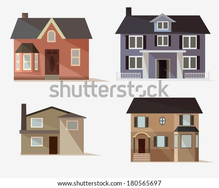 vector  web icons set of stylized houses - stock vector