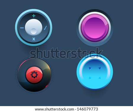 Vector Web Template Button Ui Sets - stock vector