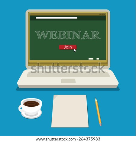 Vector webinar concept in flat style. Video player. Online education - stock vector