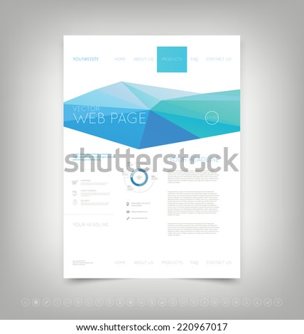 Vector website design template with blue polygonal background - stock vector