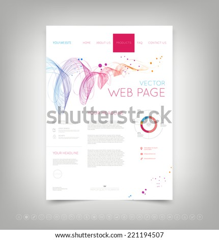 Vector website design template with colorful dynamic wave and set of icons - stock vector