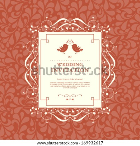 Vector wedding card or invitation with abstract floral ornament background. Perfect as invitation or announcement. - stock vector