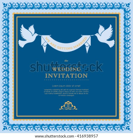 Vector wedding card or invitation with floral ornament background. Vintage greeting card. Perfect as invitation or announcement.  - stock vector