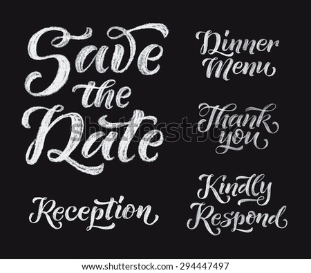 Vector wedding design template with ornate elements on blackboard. Set of calligraphy inscriptions: Save the Date, Dinner Menu, Thank you, Reception, Kindly Respond. Chalk lettering - stock vector