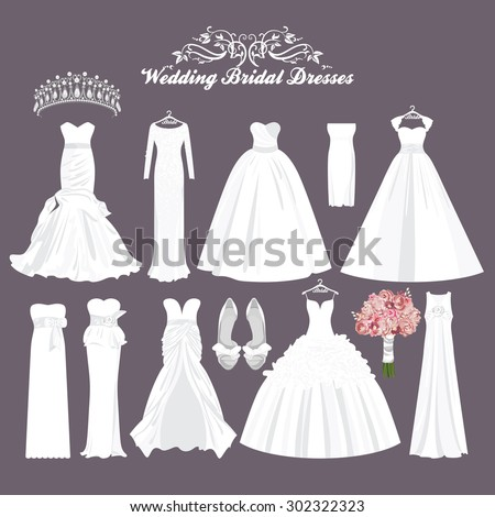 Vector wedding dresses in different styles.Fashion bride Dress. White dress, accessories set.  - stock vector