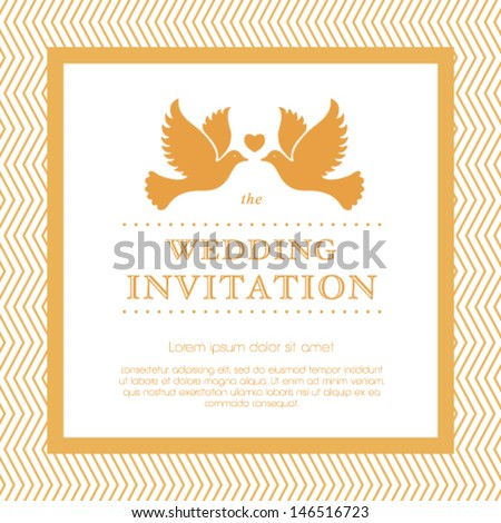 Vector wedding invitation card. - stock vector