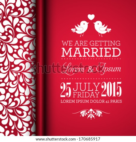 Vector wedding invitation card with floral ornament background. I Love You. Perfect as invitation or announcement. - stock vector