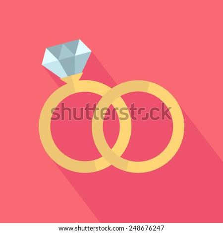 Vector wedding rings icon. Flat design - stock vector