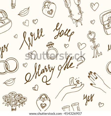 vector wedding seamless pattern isolated Marry me ring, flowers - stock vector