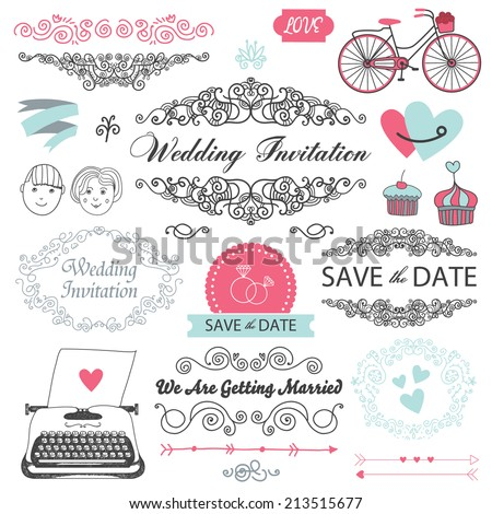 vector wedding vintage set of design elements - stock vector