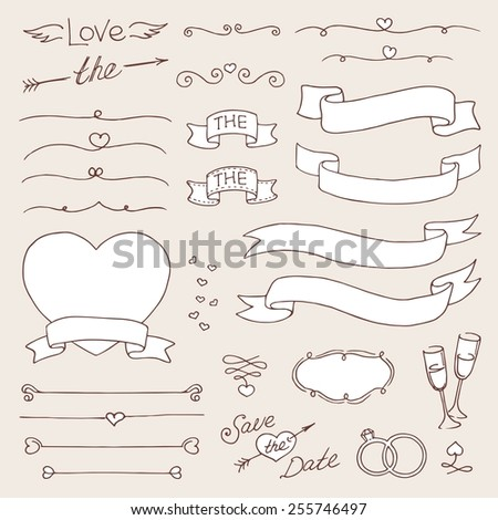 vector wedding vintage set of design elements - stock vector