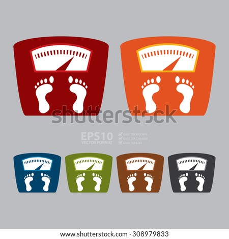 Vector : Weight Scale Infographics Flat Icon, Sign - stock vector