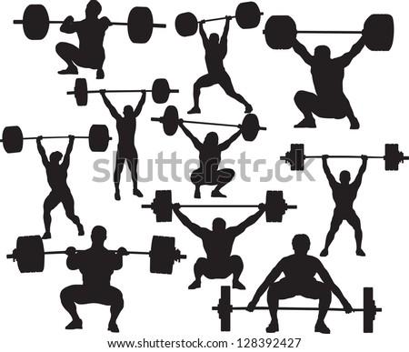 Vector weightlifter silhouette - stock vector