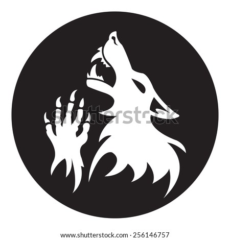 Vector werewolf stencil. Black-White color.  Fantesy graphic eps 10. - stock vector