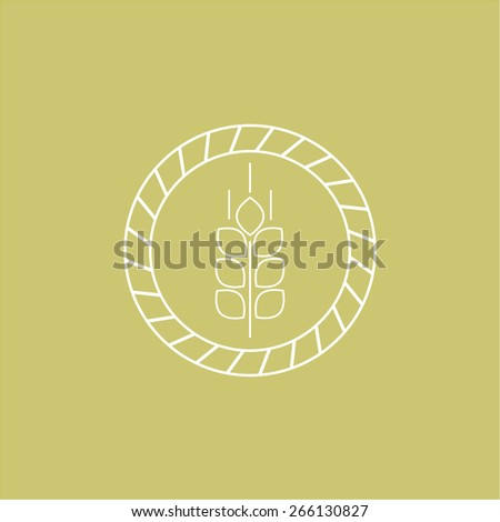 Vector wheat icons and logo design templates in outline style  - stock vector
