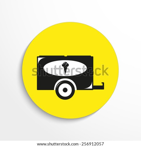 Vector wheelbarrow ice creem web flat icon. - stock vector