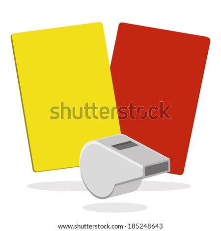 Vector Whistle And Red And Yellow Card Isolated On White Background - stock vector