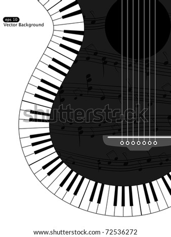 Vector white and black musical background - stock vector