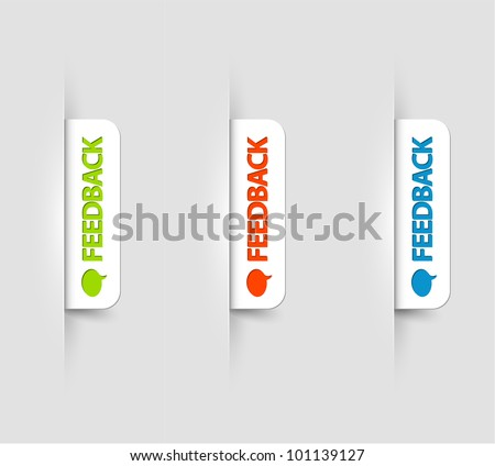 Vector white and color feedback Labels / Tags on the (web) page - stock vector