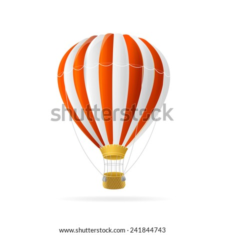 Vector white and red hot air ballon isolated on white background - stock vector