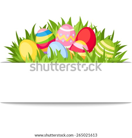 Vector white banner with colorful Easter eggs and green grass.  - stock vector
