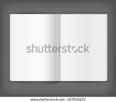 Vector white blank magazine spread on grey background. Template for your design - stock vector