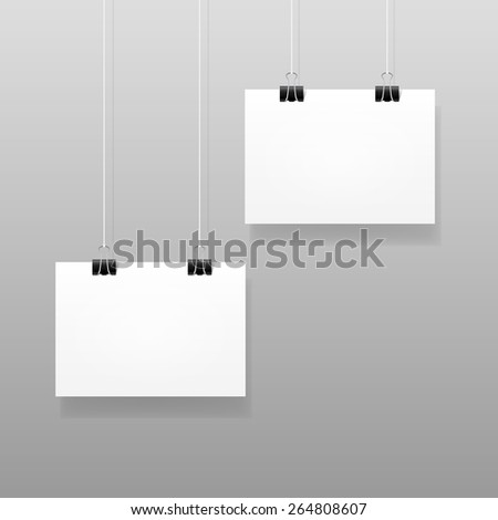 Vector White Blank Paper Wall Poster Mockup Template Frame Design - stock vector