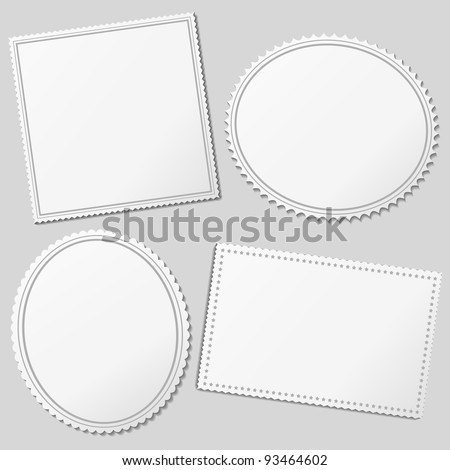 Vector white blank postage stamps - stock vector