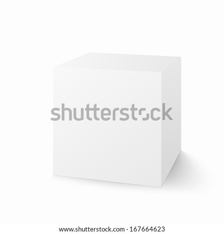 Vector white box isolated on white background Volumetric cube with shadow - stock vector
