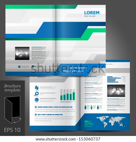 Vector white brochure template design with blue and green modern elements. EPS 10 - stock vector