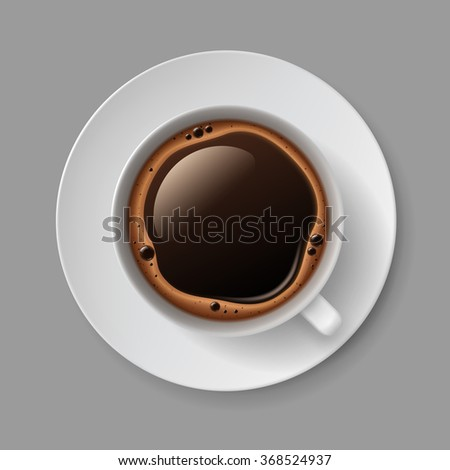 Vector White Coffee Cup Mug with Cream Foam Bubbles Top View Isolated On Background - stock vector